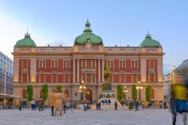 Belgrade, Serbia - October 17, 2020: National museum in Belgrade, Serbia; Dusk over Belgrade on main sqare in front of national museum