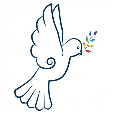 Bird or dove with color branch stylized. International Day of Peace. Peace symbol. Vector illustration.