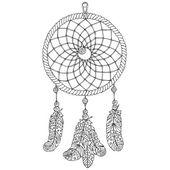 acchiappasogni amuleto. illustrazione disegnata a mano. oggetto della cultura dei nativi americani. contorno nero