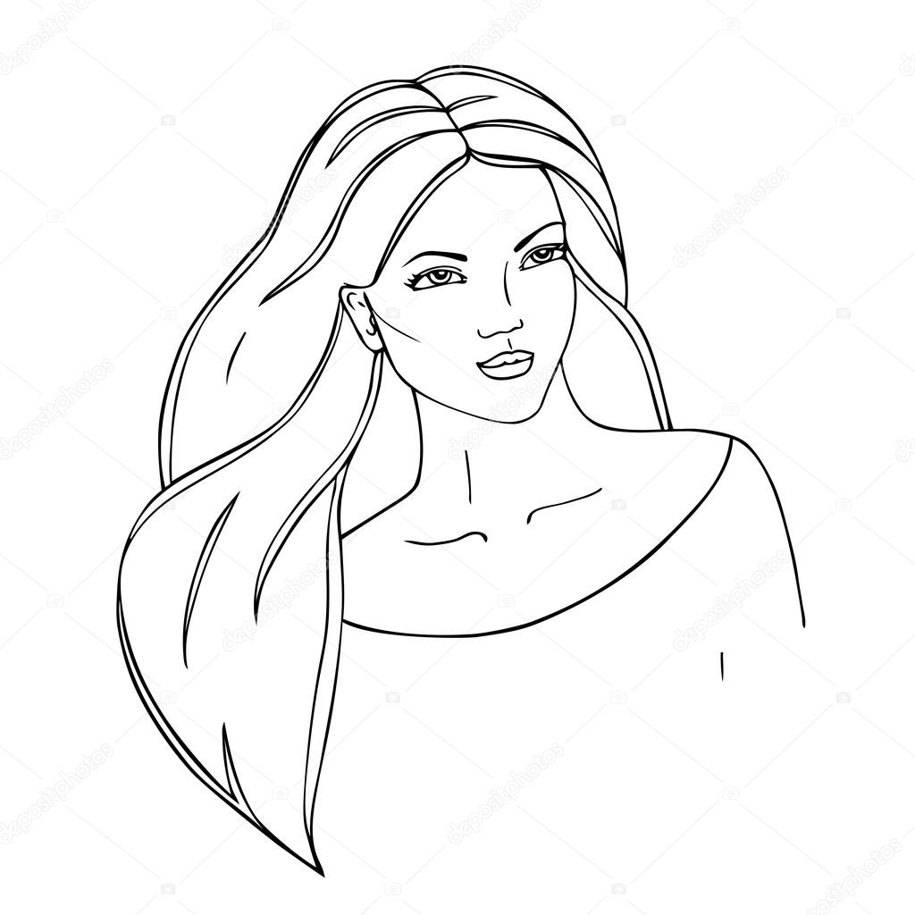 Beautiful woman face. Black contour. Hand-drawn outline. — Stock ...