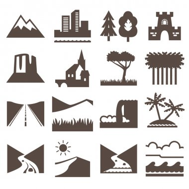 Terrain, locality icon set.