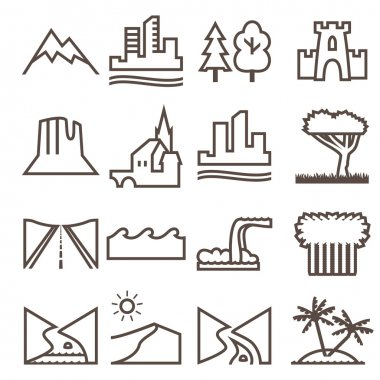 Terrain, locality linear icon set.