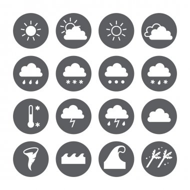 Weather icons set. Cloud, sun, precipitation.