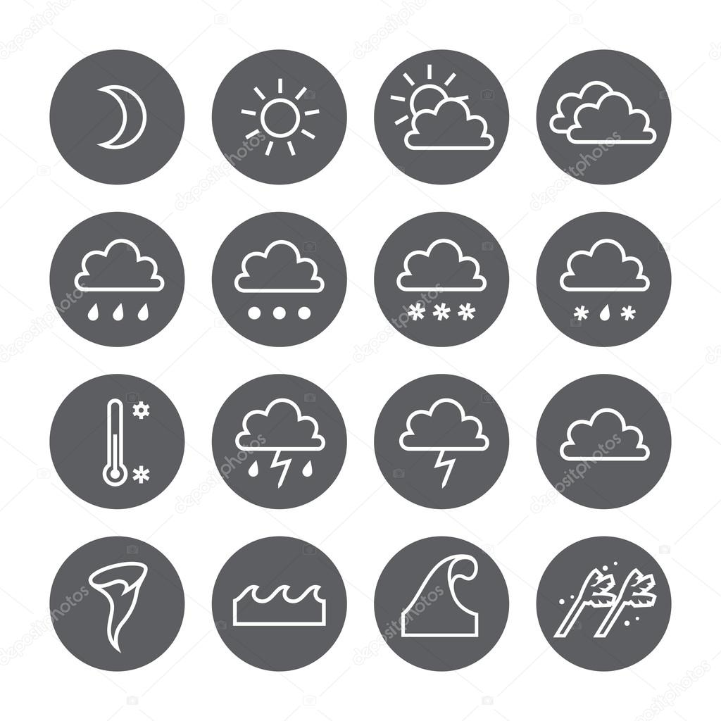 Weather linear circle icons set. Cloud, sun, precipitation