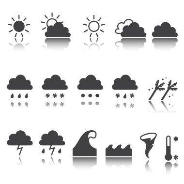 Weather icons set. Cloud, sun, precipitation. shadow reflection. e p s 1 0