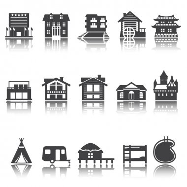 icon hotel, house, camping. accommodation options. Vector set. Shadow reflection. e p s 1 0