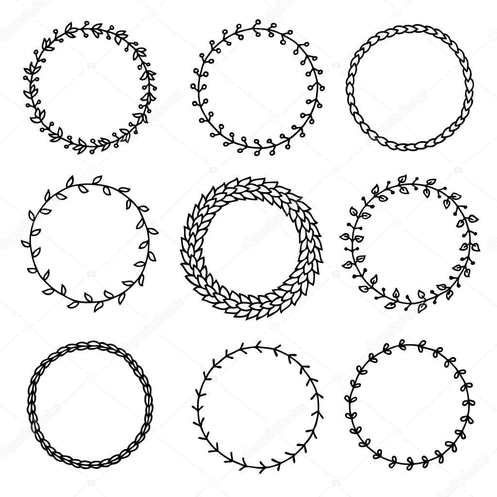 Vintage wreath hand drawn, circle frame. Vector illustration — Stock ...