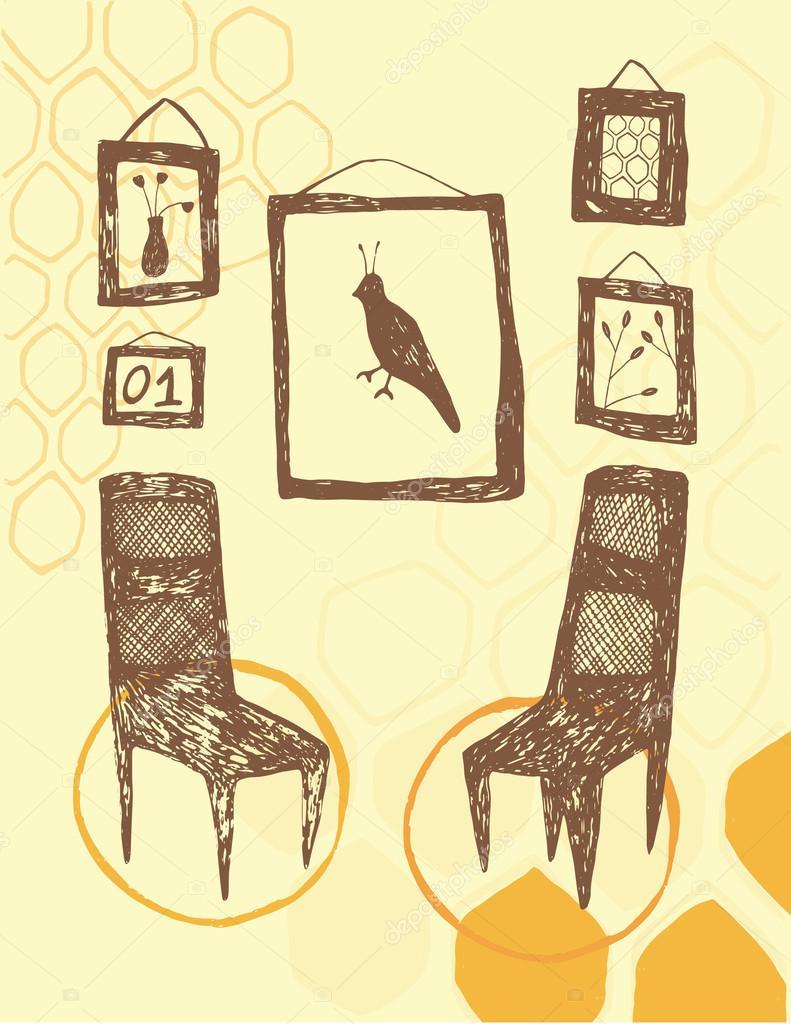 Stühle An Die Wand Hängen zwei stühle in kreisen mit bilderrahmen an der wand hängen