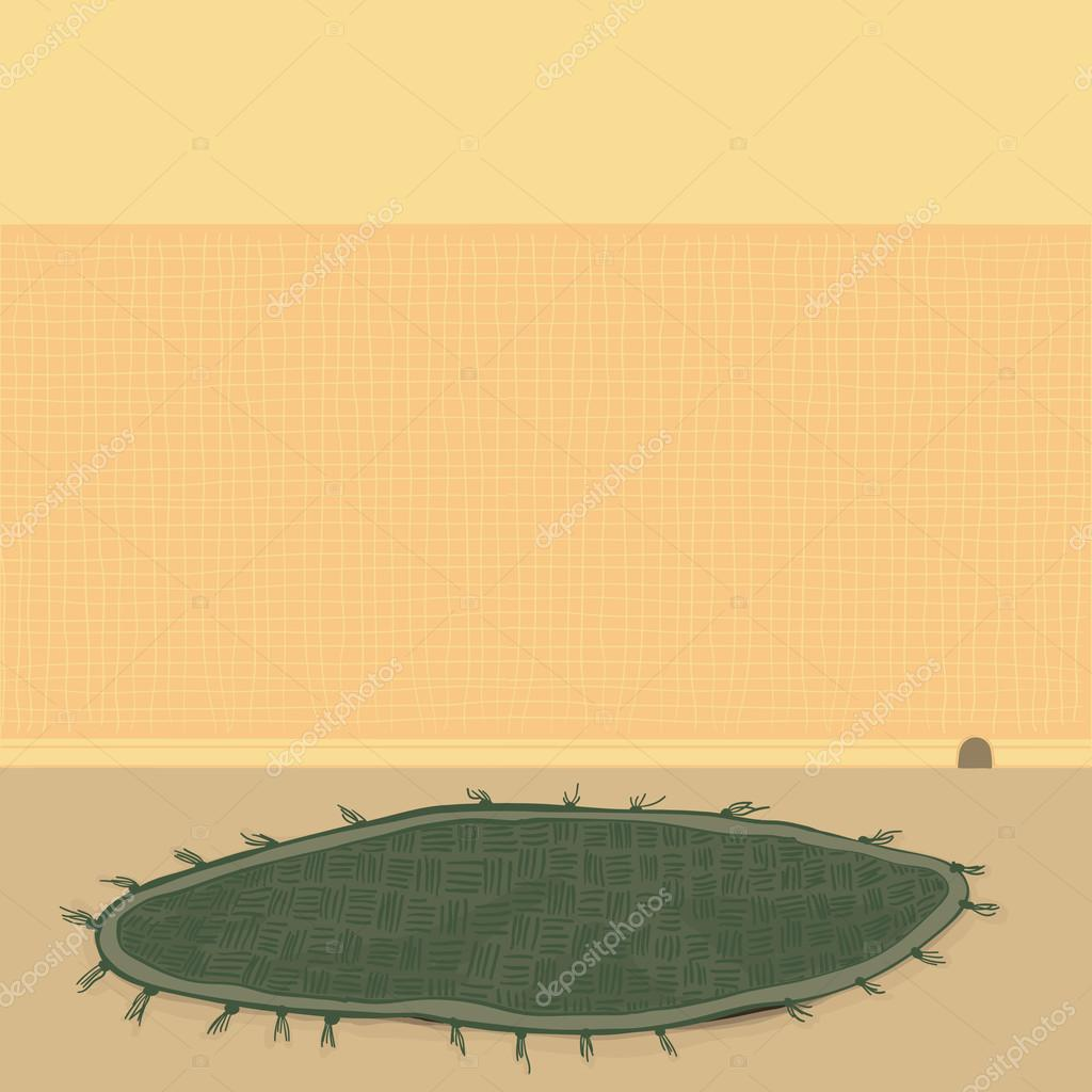Chambre jaune avec un tapis vert — Image vectorielle haliecreative ...
