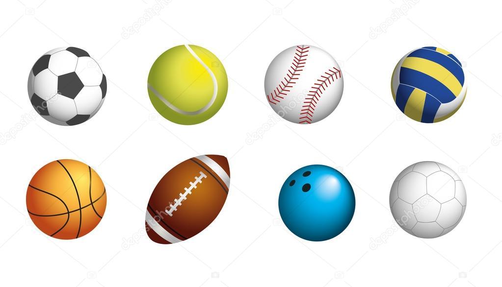 53d5a900422fe8 Обов'язкове спорт кулі на футбол, теніс, бейсбол, волейболу, баскетболу,  регбі, боулінг і гандболу — Вектор від Merikey