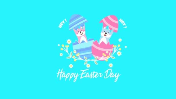 Boldog húsvéti szöveg négy színes aranyos tojás animáció rózsaszín háttér