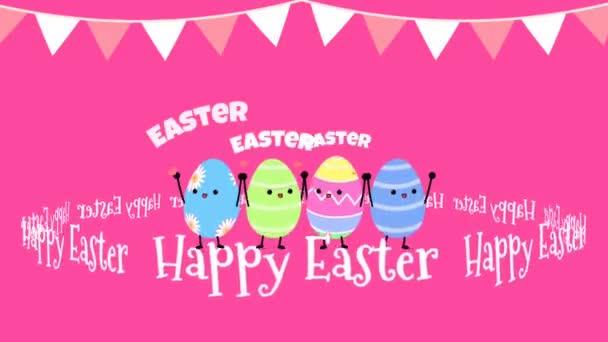 Frohe Ostern Text mit vier bunten niedlichen Ei-Animation auf rosa Hintergrund