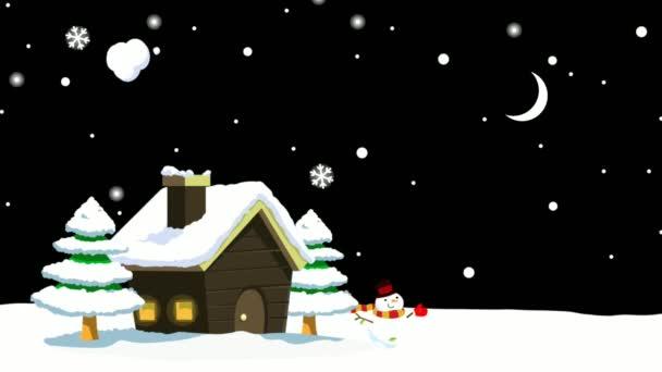 Wodeen dům s komínem Sníh na zimní animace scenérie může použít Nový rok a veselý vánoční pozadí nebo přání