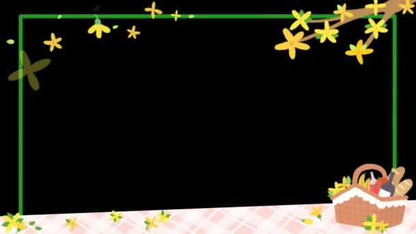 Floral animiert mit Rechteckrahmen für Foto oder Text-Grußkarte