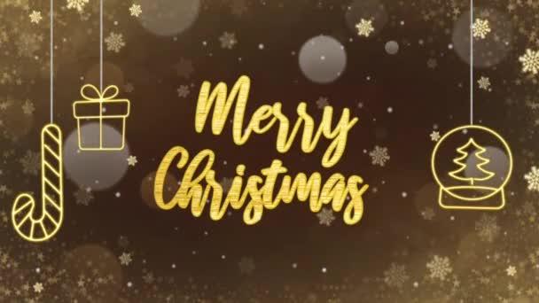 Boldog karácsonyi arany szöveg wist arany csillogás és a hó a fekete háttér lehet használni a karácsonyi vagy újévi háttér vagy üdvözlő kártya