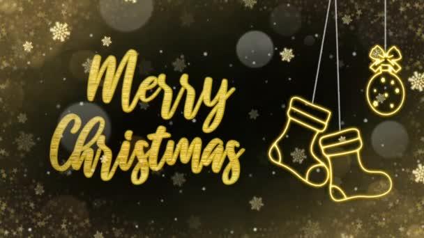 Frohe Chrisam Gold Text Wist Gold funkeln und Schnee auf schwarzem Hintergrund kann für Chrisam oder Neujahr Hintergrund oder Grußkarte verwenden
