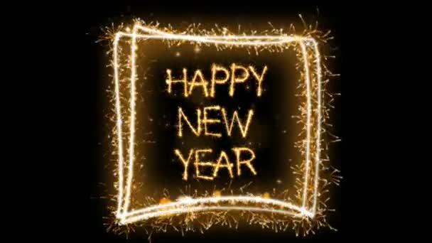 Animáció boldog új évet tűzijáték szöveg fekete háttér használható üdvözlőkártya