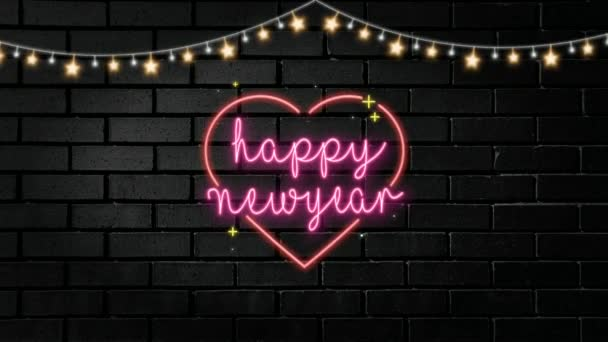 Animation of pink happy new year neon text with lamp decoration on brickwall can use for background or greeting card