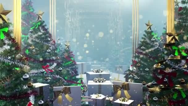 Nový rok a vánoční zázemí. Bezešvé smyčka video animace.Roztomilé animace Veselé Vánoce nápisy s vánoční stromeček a sněhové vločky padající. Veselé Vánoce a vánoční dárky pozadí