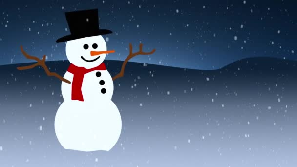 Újév és karácsony háttér. Zökkenőmentes hurok videó animáció.Aranyos animáció Boldog karácsonyi betűk karácsonyfa és hópelyhek alá. Boldog karácsonyt és karácsonyi ajándékok háttér