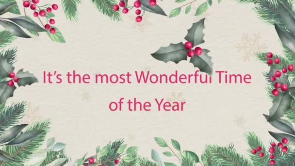 Nový rok a vánoční zázemí. Bezešvé smyčka video animace.Roztomilé animace Veselé Vánoce nápisy s vánoční stromeček a sněhové vločky padající. Veselé Vánoce a vánoční dárky pozadí.