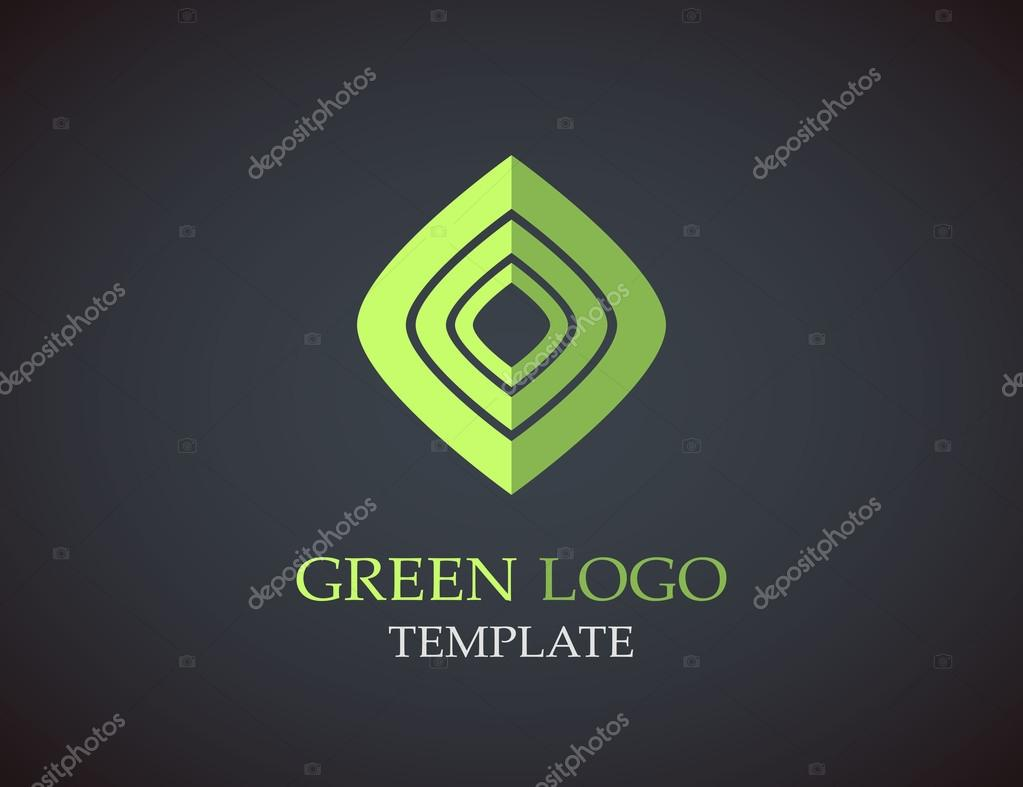 Eco green leaf logo template. Green leaves loop. Ecology icon.