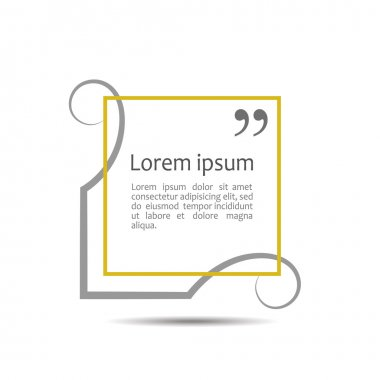 Citation text box. Frame for decoration quote and other information. Quote blank template. Quote bubble. Empty template. Business card template, paper sheet, information, text Quote form.