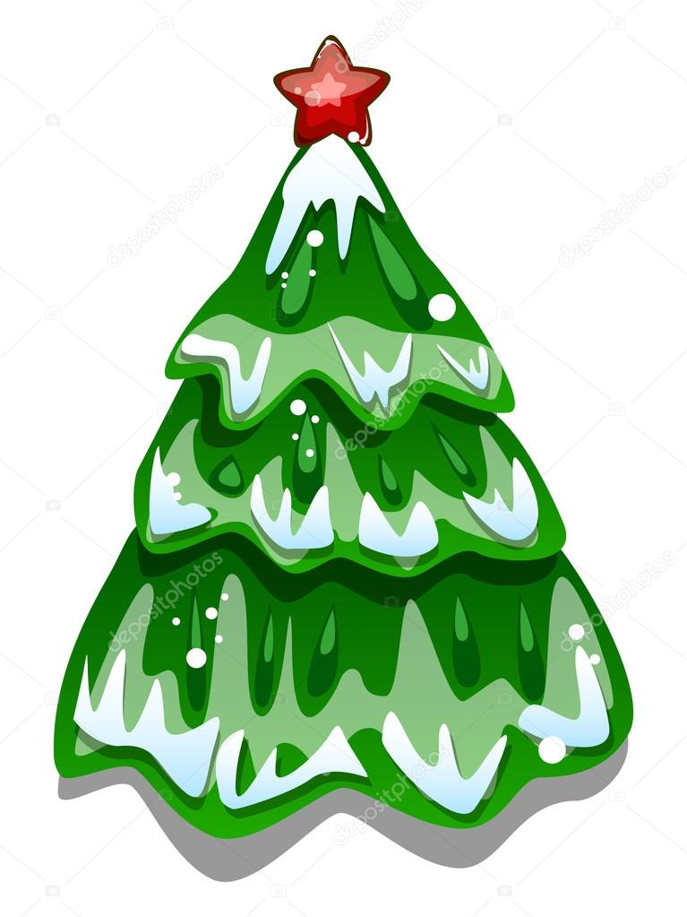Pino Nevado Dibujo árbol De Navidad Nevado De Dibujos Animados