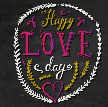 Happy love day hand lettering. valentines day card clip art vector