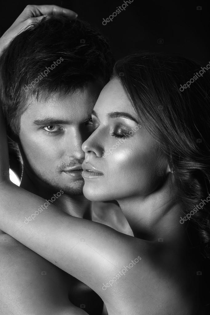 Sensual kissing couple