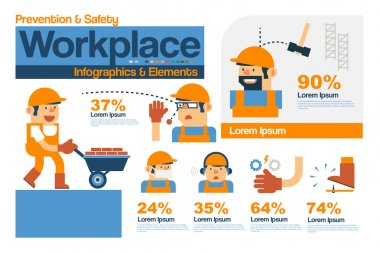 Vector Infographics Safety and Prevention in The Workplace, Safety Elements Flat Design. stock vector