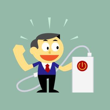 Vector Cartoon a Businessman and Power Bank Charging Power Up