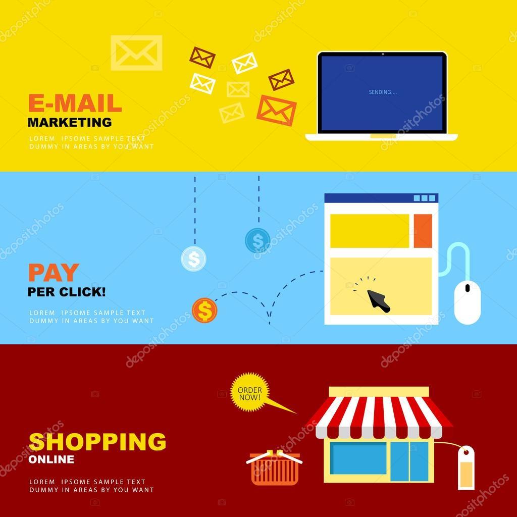 E-Mail Marketing, Pay per Click, Shopping Online. Business Econo