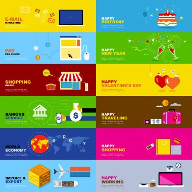 six concepts about business online, shooping, transport, economy