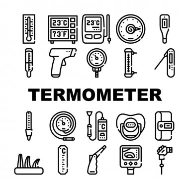 Thermometer Device Collection Icons Set Vector. Digital And Electronic Thermometer, Window And Kitchen Gadget, Pyrometer And Fermometer Measuring Tool Black Contour Illustrations icon