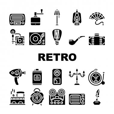 Retro Stuff Devices Collection Icons Set Vector. Retro Kerosene Burner And Lightbulb, Radio And Music Turntable, Photo And Video Camera Glyph Pictograms Black Illustrations icon