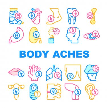Body Aches Problem Collection Icons Set Vector. Heart And Teeth, Bone And Eye, Chest And Uterus, Leg And Fingers Sharp And Unknown Pain Concept Linear Pictograms. Contour Color Illustrations icon