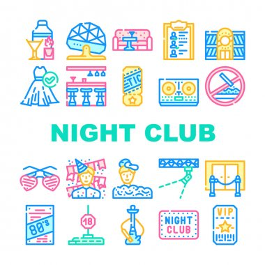 Night Club Dance Party Collection Icons Set Vector. Night Club Lounge Area And Floor Disco Ball, Bar Counter And Dj Equipment Concept Linear Pictograms. Contour Color Illustrations icon