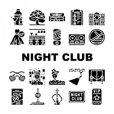 Night Club Dance Party Collection Icons Set Vector. Night Club Lounge Area And Floor Disco Ball, Bar Counter And Dj Equipment Glyph Pictograms Black Illustrations icon