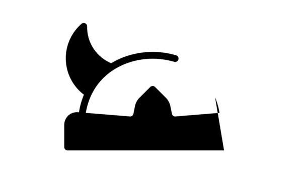 rohatá vikingská helma černá ikona animace