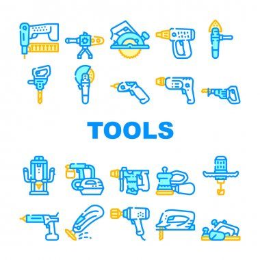 Tools For Building Collection Icons Set Vector. Jigsaw And Jackhammer, Neiler And Electric Planer, Spray Gun And Wrench, Flazer And Mixer Tools Concept Linear Pictograms. Contour Illustrations icon