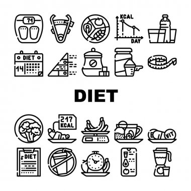 Diet Products And Tool Collection Icons Set Vector. Vegetarian Diet And Description, Fat Burning Tea And Smoothie Drink, Flexible Meter And Caliper Black Contour Illustrations icon