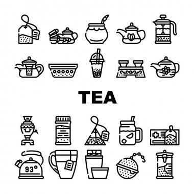 Tea Healthy Drink Collection Icons Set Vector. Ceremony Table And Dish For Drinking Healthcare Tea, Teapot And Cup, Bag And Mesh Of Beverage Black Contour Illustrations icon