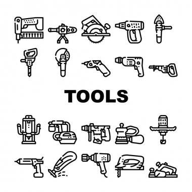 Tools For Building Collection Icons Set Vector. Jigsaw And Jackhammer, Neiler And Electric Planer, Spray Gun And Wrench, Flazer And Mixer Tools Black Contour Illustrations icon