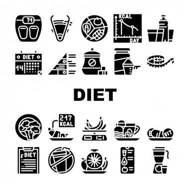 Diet Products And Tool Collection Icons Set Vector. Vegetarian Diet And Description, Fat Burning Tea And Smoothie Drink, Flexible Meter And Caliper Glyph Pictograms Black Illustrations icon