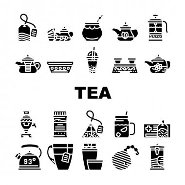 Tea Healthy Drink Collection Icons Set Vector. Ceremony Table And Dish For Drinking Healthcare Tea, Teapot And Cup, Bag And Mesh Of Beverage Glyph Pictograms Black Illustrations icon
