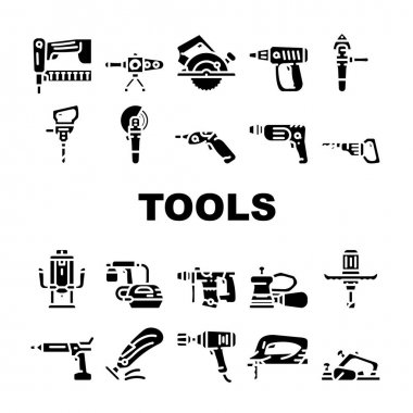 Tools For Building Collection Icons Set Vector. Jigsaw And Jackhammer, Neiler And Electric Planer, Spray Gun And Wrench, Flazer And Mixer Tools Glyph Pictograms Black Illustrations icon