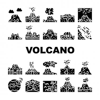 Volcano Lava Eruption Collection Icons Set Vector. Volcano Under Water And Stratovolcano Mountain, Volcanic Bomb, Magma, Dirty Thunderstorm And Mud Glyph Pictograms Black Illustrations icon