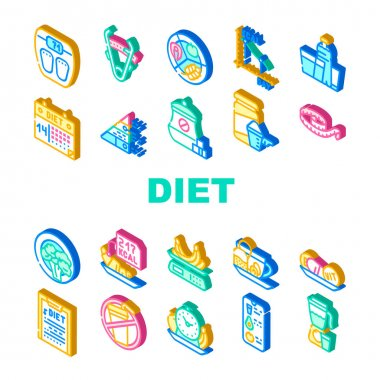 Diet Products And Tool Collection Icons Set Vector. Vegetarian Diet And Description, Fat Burning Tea And Smoothie Drink, Flexible Meter And Caliper Isometric Sign Color Illustrations icon