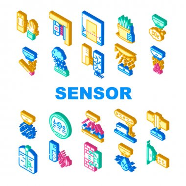 Sensor Electronic Tool Collection Icons Set Vector. Motion And Vibration, Beam And Humidity, Plant Watering And Dimension Gauge, Fire And Smoke Sensor Isometric Sign Color Illustrations icon